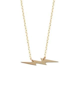 Gold Lighting Bolt Pendant Necklace