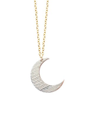 Two-Tone Inspirational Moon Pendant Necklace
