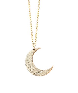 Gold Inspirational Moon Pendant Necklace