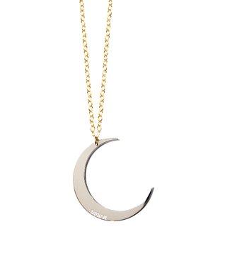 Two-Tone Dream Moon Pendant Necklace