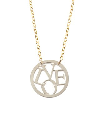 Two-Tone 'Love' Round Pendant Necklace
