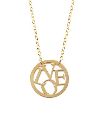 Gold 'Love' Round Pendant Necklace