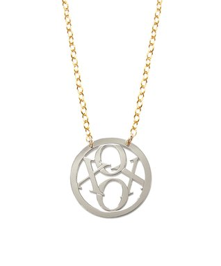 Two-Tone 'XOXO' Round Pendant Necklace
