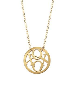 Gold 'XOXO' Round Pendant Necklace