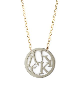 Two-Tone 'Lucky' Round Pendant Necklace