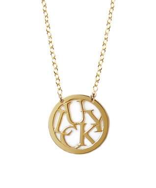 Gold 'Lucky' Round Pendant Necklace