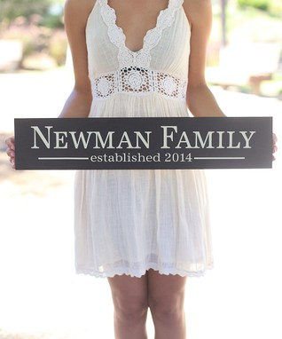 Long Personalized Newlywed Family Sign
