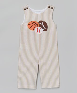 Brown Sports Appliqué Overalls - Infant & Toddler