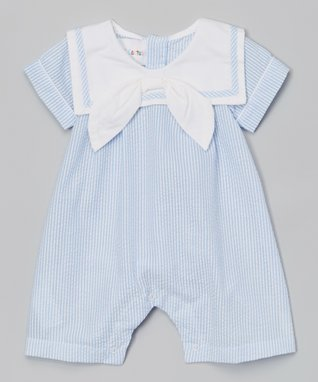 Gray & White Stripe Bunny Overalls - Infant
