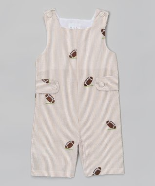 Brown Football Appliqué Shortalls - Infant & Toddler