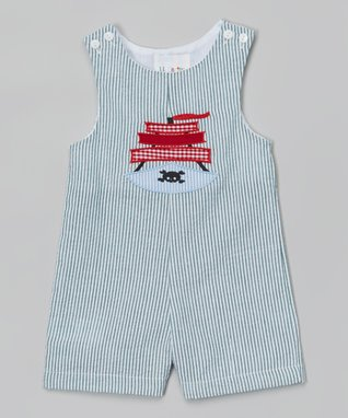 Light Blue Pirate Appliqué Shortalls - Infant & Toddler
