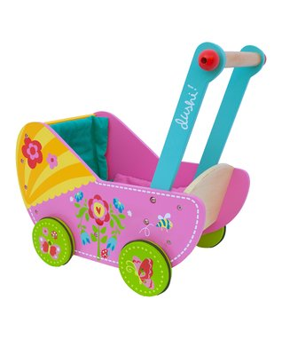Pink & Blue Wood Doll Carriage