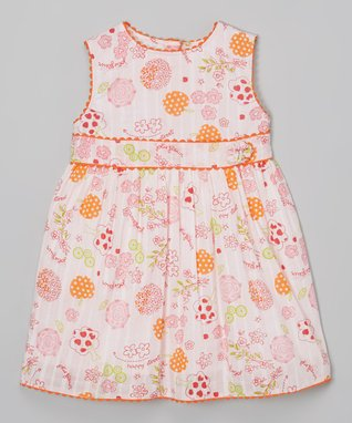 Orange & Green Floral A-Line Dress - Infant, Toddler & Girls
