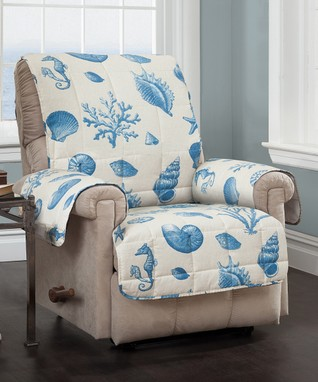 Blue Shells Recliner & Wing Chair Protector