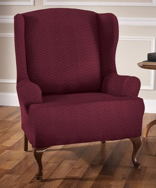 Burgundy Raise The Bar Stretch Wing Chair Slipcover