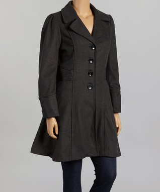 Dark Charcoal Gray Flare Coat - Plus