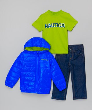 Cobalt Puffer Coat Set - Infant & Toddler