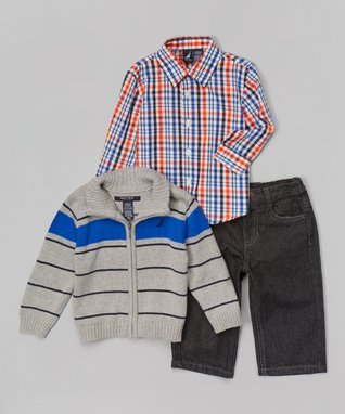 Ash Heather Stripe Zip-Up Sweater Set - Infant, Toddler & Boys