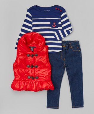 Dark Red Toggle Puffer Vest Set - Infant & Toddler