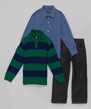 Navy & Hunter Stripe Cable Pullover Set - Infant, Toddler & Boys
