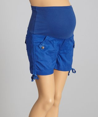 Oh! Mamma Cobalt Over-Belly Cinched Maternity Shorts - Women