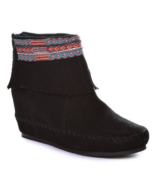 KIM & ZOZI Black Muse Leather Wedge Bootie