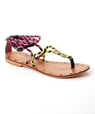 KIM & ZOZI Tan & Pink Giles Leather Sandal