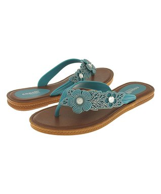 9a16f2986975 Capelli New York Turquoise Textured Flower Jelly Sandal