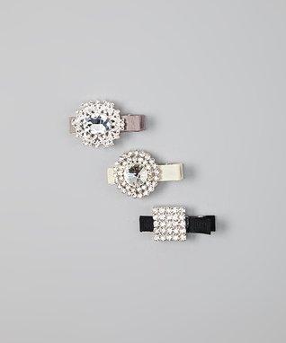 Silver, Black & Ivory Rhinestone Clip Set
