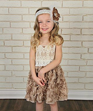 Ivory & Mocha Crochet Rosette Dress - Infant, Toddler & Girls