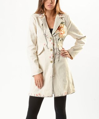 Biz Enterprises Ivory Floral-Embroidered Trench Coat - Women