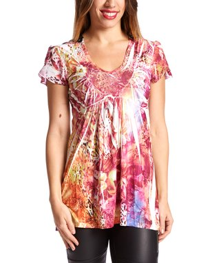 Simply Irresistible Pink & Orange Animal Sublimation Crochet-Back Top - Women