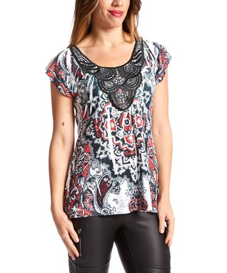 Simply Irresistible Black & Red Lace Scoop Neck Top - Women