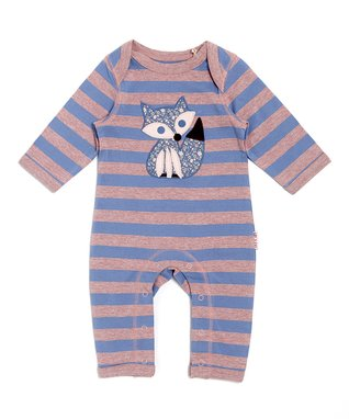 Blue & Lilac Stripe Fox Playsuit - Infant