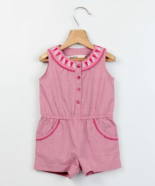 Light Pink Embroidered Chambray Romper - Infant & Toddler