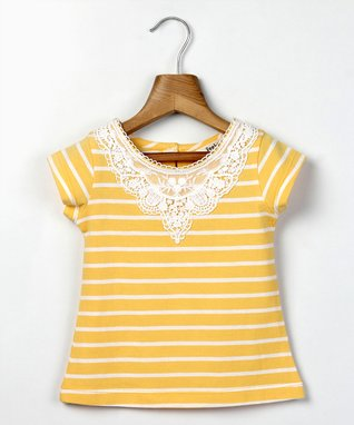 Yellow Stripe Lace Collar Tee - Infant, Toddler & Girls