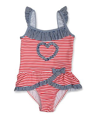 Red & Blue Heart Ruffle One-Piece - Infant, Toddler & Girls