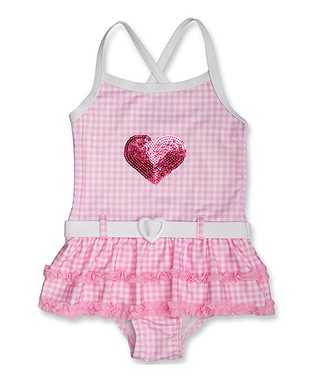 Pink & White Sequin Heart One-Piece - Infant, Toddler & Girls
