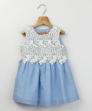 Light Blue & White Lace Chambray Dress - Infant & Toddler