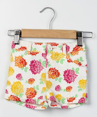 White & Pink Floral Shorts - Infant, Toddler & Girls