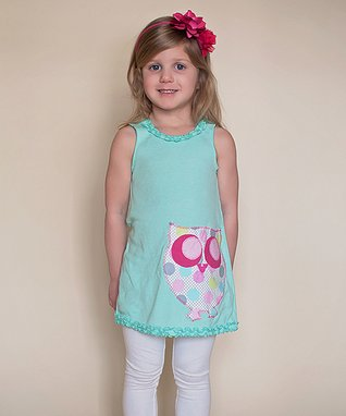 Teal Polka Dot Owl Tank Dress - Infant, Toddler & Girls