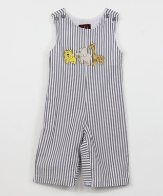 Gray Stripe Jungle Animals Overalls - Infant & Toddler