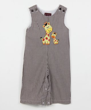 Black Gingham Giraffe Overalls - Infant & Toddler