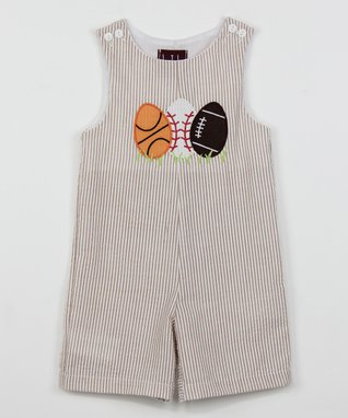 Tan Stripe Sports Eggs Shortalls - Infant & Toddler