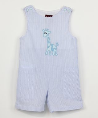 Blue Stripe Giraffe Shortalls - Infant & Toddler