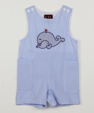 Blue Gingham Whale Shortalls - Infant & Toddler