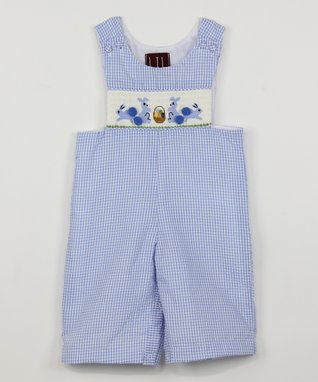 Blue Gingham Bunny Smocked Overalls - Infant & Toddler