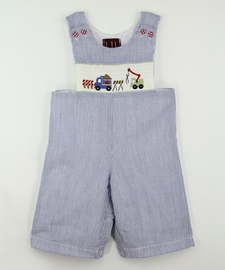 Blue Stripe Construction Smocked Overalls - Infant & Toddler