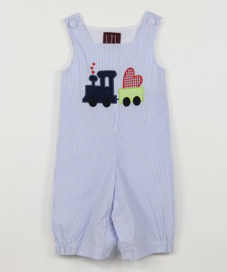 Blue Stripe Heart Train Overalls - Infant & Toddler