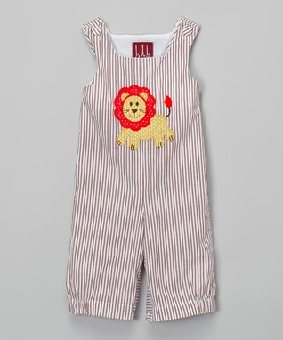 Tan Stripe Lion Overalls - Infant & Toddler